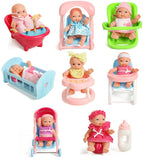 "Set of 8 Assorted 5"" Mini Dolls, High Chair, Stroller, Crib, Car Seat, Bath, Potty, Swing."
