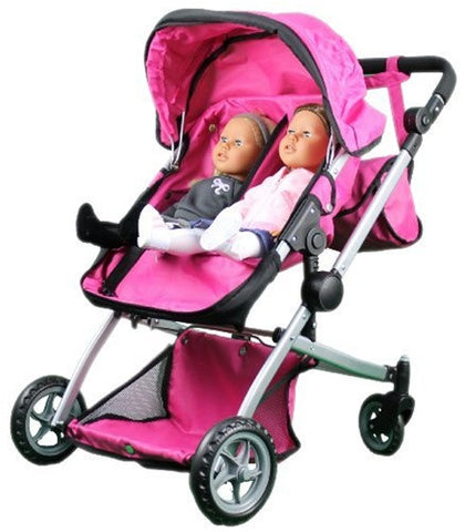 Babyboo Deluxe Twin Doll Bassinet & Stroller (Pink) with Free Carriage (9651A)
