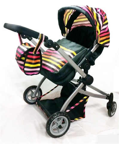 Babyboo Deluxe Twin Doll Bassinet & Stroller (Stripes) with Free Carriage