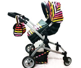 Babyboo Deluxe Twin Doll Bassinet & Stroller (Stripes) with Free Carriage - Toys 2 Discover - 2