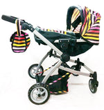Babyboo Deluxe Twin Doll Bassinet & Stroller (Stripes) with Free Carriage - Toys 2 Discover - 3