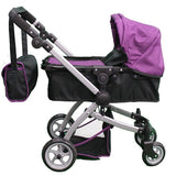 Babyboo Deluxe Doll Pram Color PURPLE & BLACK with Swiveling Wheels & Adjustable Handle and Free Carriage Bag - 9651B PRP - Toys 2 Discover