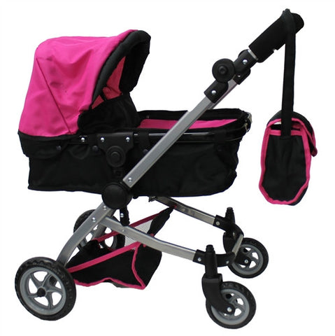 Babyboo Deluxe Basinet & Stroller, Matching Diaper Bag, Black/Pink Color (9651B-2)