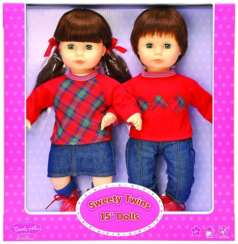 Beverly Hills Sweety Twins 15'' Brunette Dolls, Matching Boy & Girl
