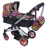 Like Bugaboo DOLL Bassinet Stroller with Diaper Bag and Swivel Wheels, Rainbow - Toys 2 Discover