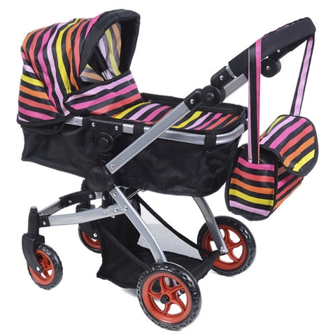 Like Bugaboo DOLL Bassinet Stroller with Diaper Bag and Swivel Wheels, Rainbow