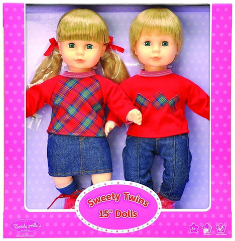 Beverly Hills Sweety Twins 15'' Blond Dolls, Matching Boy & Girl
