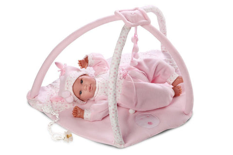 Infant Baby Girl with Play Mat Gymini 16'' Crying Doll with Pacifier