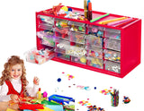 Arts & Crafts Supply Center Complete with 20 Filled Drawers of Craft Materials