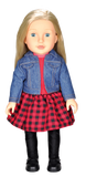 "Beverly Hills 18"" Doll with Blonde Hair, Dressed in a Red Dress and Denim Jacket"