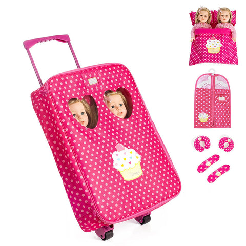 7 Piece TWIN Doll Traveling Trolley Set fits 2 18'' American girl Dolls Including Twin Sleeping Bags and accessories **Doll Not Included**