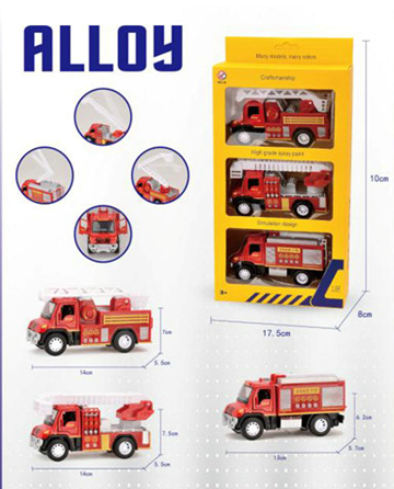 Set Of 3 Die-cast Fire Trucks