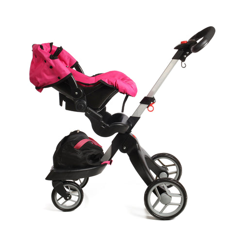 Mommy and Me SoCutie Doll Stroller with Swiveling Wheels and Adjustable Handle. Carriage Bag Included