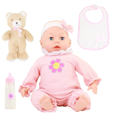 16'' Doll Soft & Huggable with Teddy Bear Bib a Magic Milk Bottle