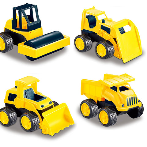 Road Repair Construction Vehicles, Set of 4 Trucks Include: A Dump Truck, Front Wheel Tractor, Asphalt Paver and Bulldozer