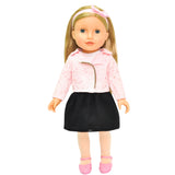 "Beverly Hills 18"" Doll with Blonde Hair, Black Skirt and Pink Jacket"