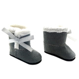 "Grey Fur Trimmed Boots for 18"" Dolls"