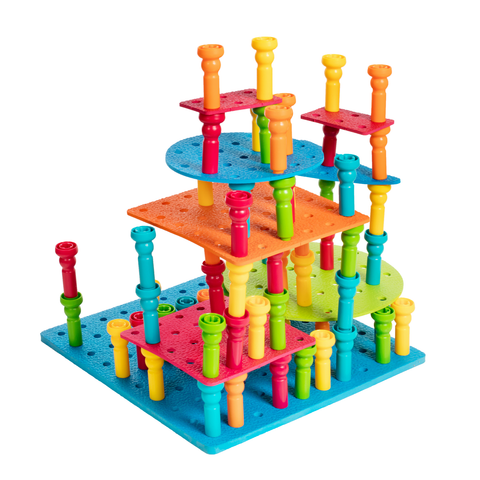 117 Piece Multilevel Peg Set, 12X12 Board Included - Lauri Compatible
