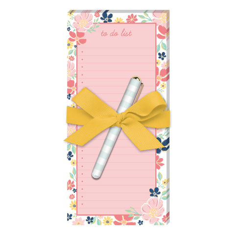 pink wildflower to do magnetic list pad with pen