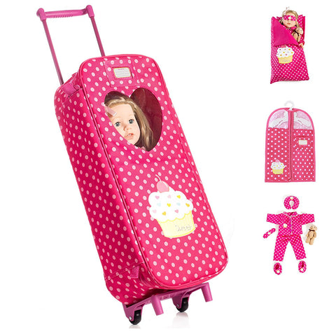 8 Piece Doll Traveling Trolley Set fits 18'' American girl Doll Including Pajamas Sleeping Bag Doll Not Included