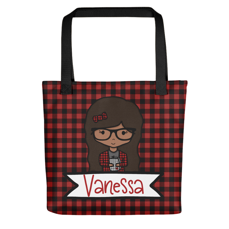 Buffalo Plaid Nerdy Moxie Chick Personalized Tote bag // New Release - That Moxie Chick Studio