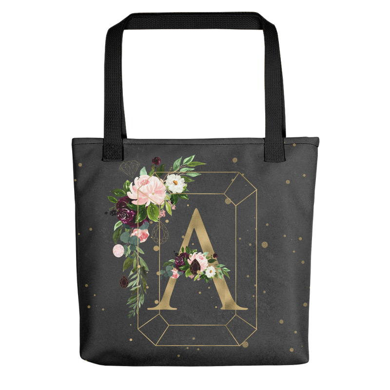 Floral Jewels Personalized Tote bag // New Release - That Moxie Chick Studio