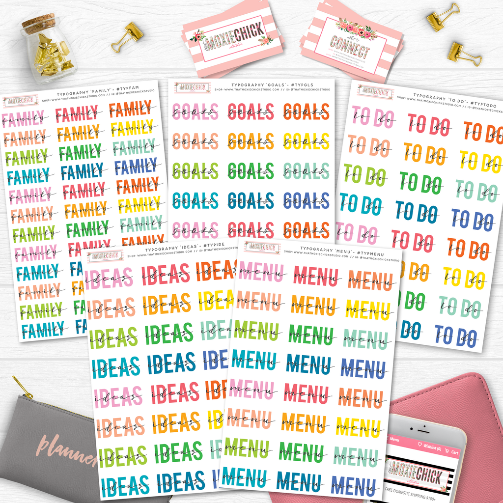 5 NEW TYPOGRAPHY Full Size Sheets // Goals/ Ideas / Menu / To Do / Family - That Moxie Chick Studio