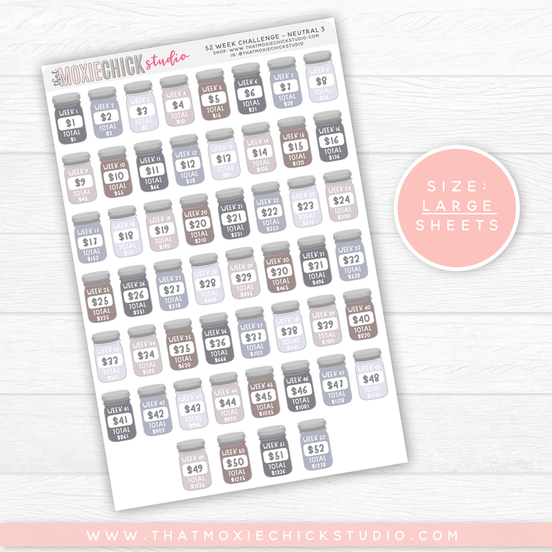 52 WEEK SAVINGS JARS - NEUTRAL 3 // LARGE SINGLE SHEET // NEW RELEASE