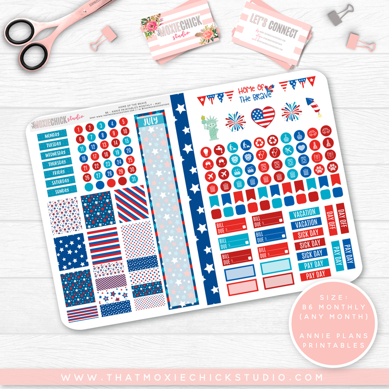 CLEARANCE // HOME OF THE BRAVE 'ANNIE PLANS PRINTABLE MONTHLY' // B6 FOLDABLE SIZE - That Moxie Chick Studio
