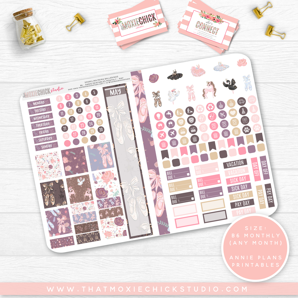 NEW RELEASE // SPARKLING PRIMA BALLERINAS 'ANNIE PLANS PRINTABLE MONTHLY' // B6 FOLDABLE SIZE - That Moxie Chick Studio