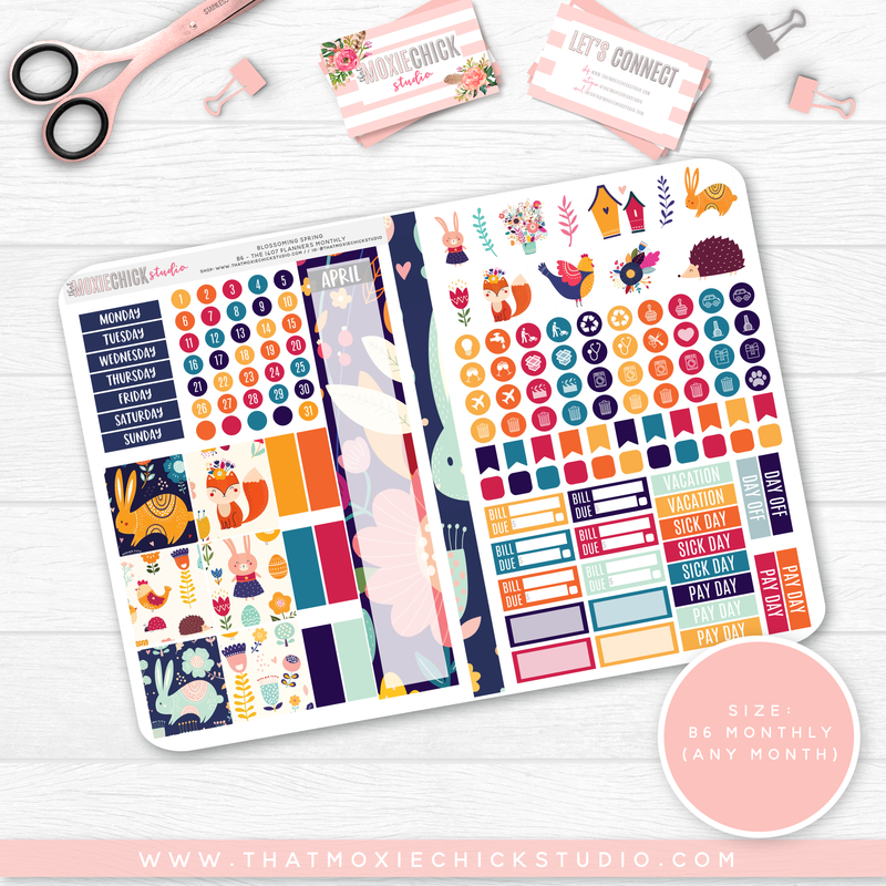 BLOSSOMING SPRING B6 'MONTHLY' FOLDABLE // CHOOSE YOUR OWN MONTH // NEW RELEASE - That Moxie Chick Studio