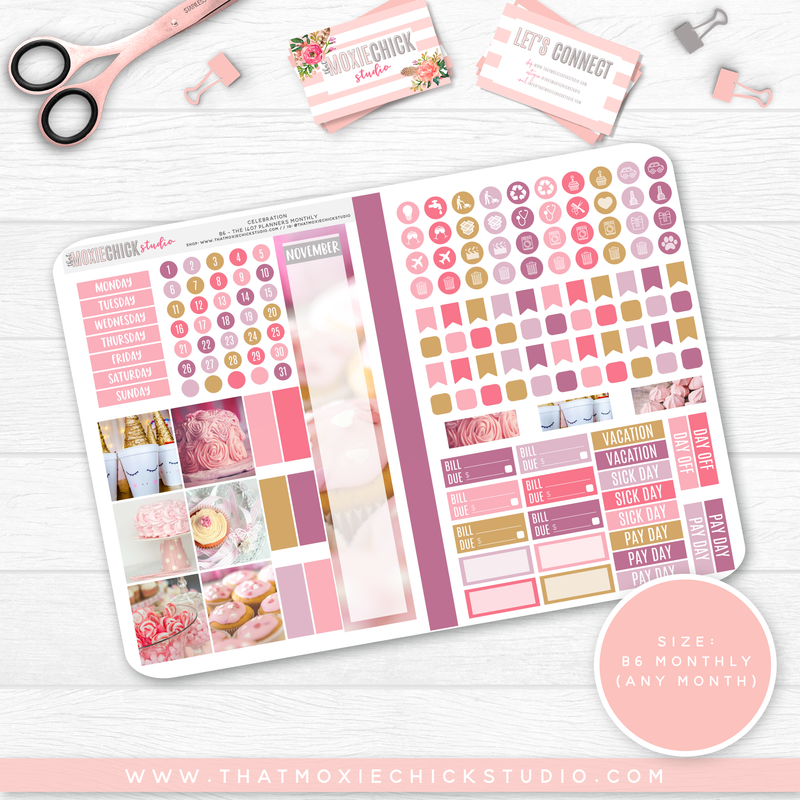 CELEBRATION B6 'MONTHLY' FOLDABLE // CHOOSE YOUR OWN MONTH // NEW RELEASE - That Moxie Chick Studio