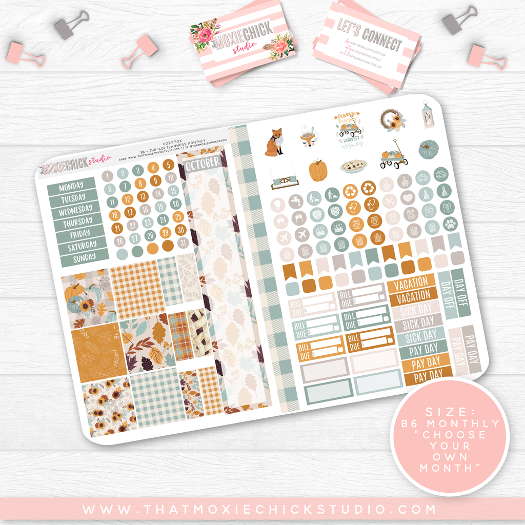 COZY FOX B6 'MONTHLY' FOLDABLE // CHOOSE YOUR OWN MONTH // NEW RELEASE - That Moxie Chick Studio
