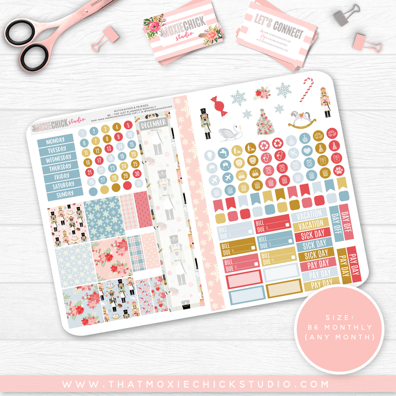 CLEARANCE // NUTCRACKER & FRIENDS B6 'MONTHLY' FOLDABLE // CHOOSE YOUR OWN MONTH - That Moxie Chick Studio