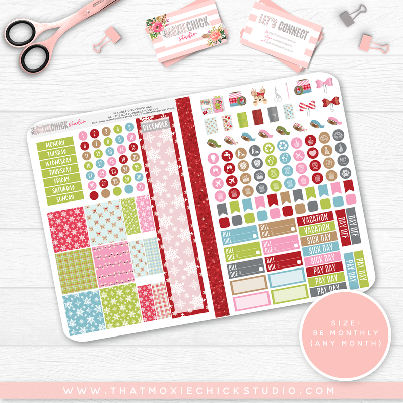 PLANNER GIRL CHRISTMAS B6 'MONTHLY' FOLDABLE // CHOOSE YOUR OWN MONTH // NEW RELEASE
