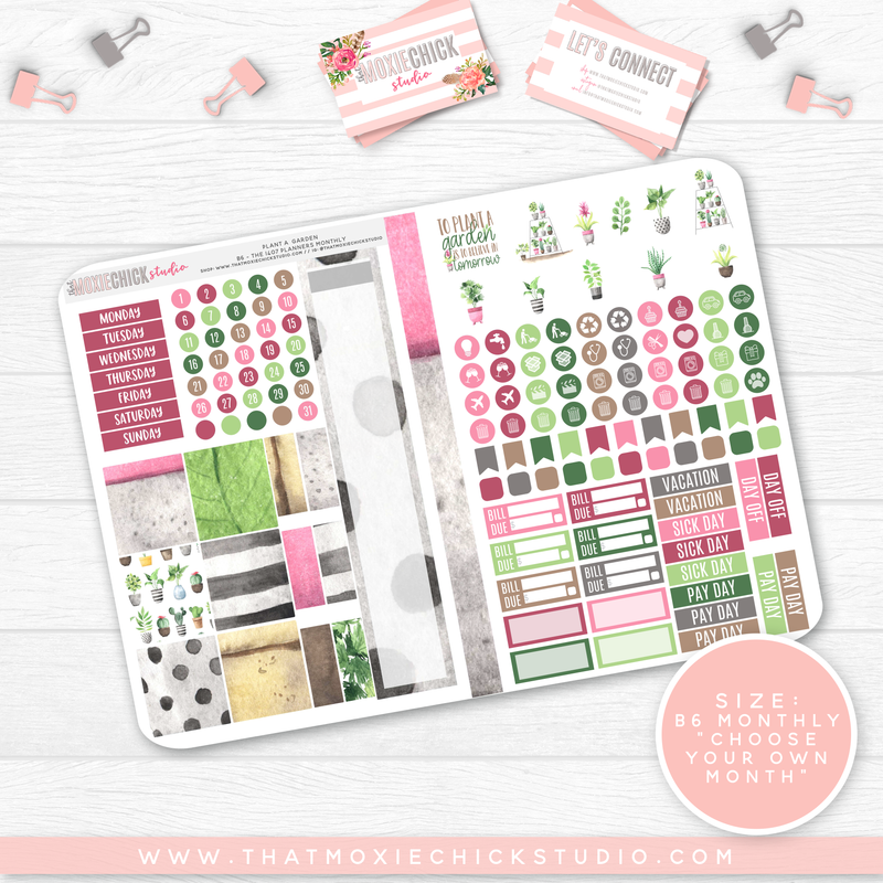 PLANT A GARDEN B6 'MONTHLY' FOLDABLE // CHOOSE YOUR OWN MONTH // NEW RELEASE - That Moxie Chick Studio