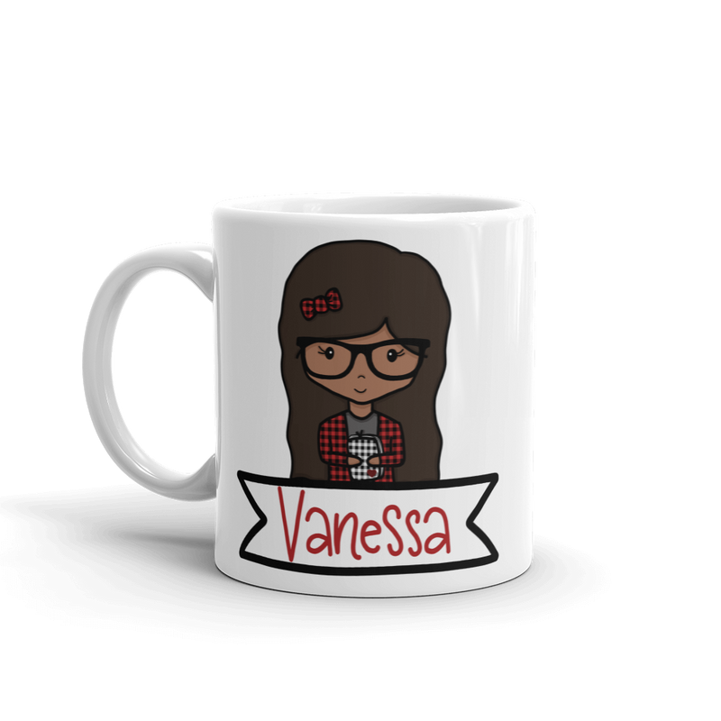 Buffalo Plaid Nerdy Moxie Chick Personalized Mug // New Release - That Moxie Chick Studio