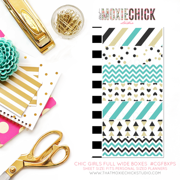 CHIC GIRLS FULL WIDE BOXES #CGFWBXPS - PERSONAL SIZE SHEET - That Moxie Chick Studio
