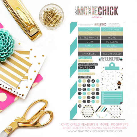 CHIC GIRLS HEADERS AND MORE #CGHRSPS - PERSONAL SIZE SHEET - That Moxie Chick Studio