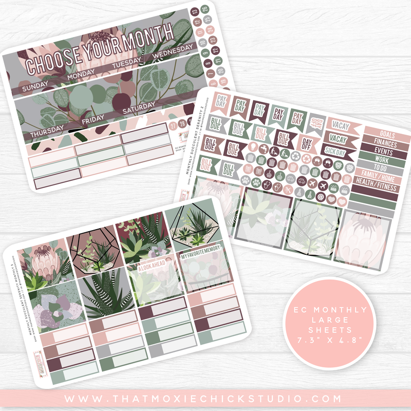 SUCCULENT SERENITY 'CHOOSE YOUR OWN MONTH' // ERIN CONDREN MONTHLY // NEW RELEASE