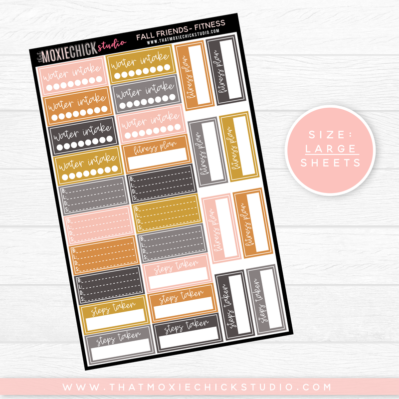 FALL FRIENDS - FITNESS SHEET // LARGE SINGLE SHEET // NEW RELEASE