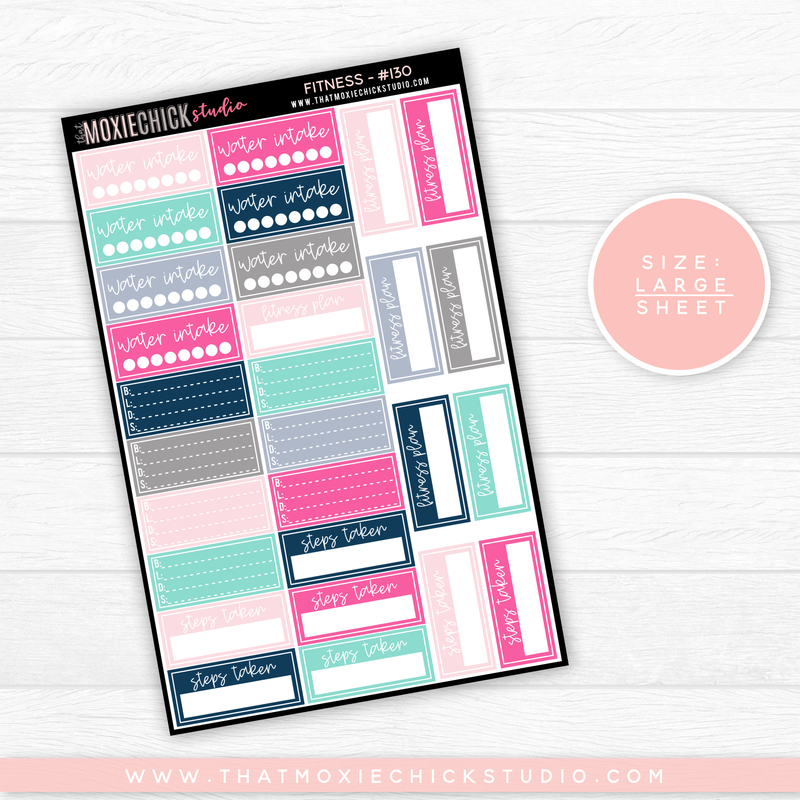 FITNESS SHEET #130 // LARGE SINGLE SHEET // NEW RELEASE - That Moxie Chick Studio