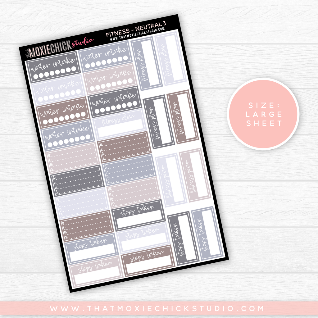 FITNESS SHEET NEUTRAL 3 // LARGE SINGLE SHEET // NEW RELEASE - That Moxie Chick Studio
