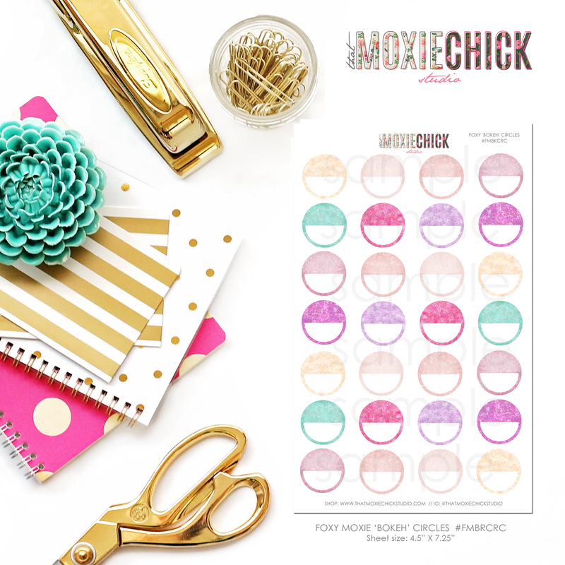 Circles / Half Circles - Matches Foxy Moxie Bokeh - Great for planners! - That Moxie Chick Studio