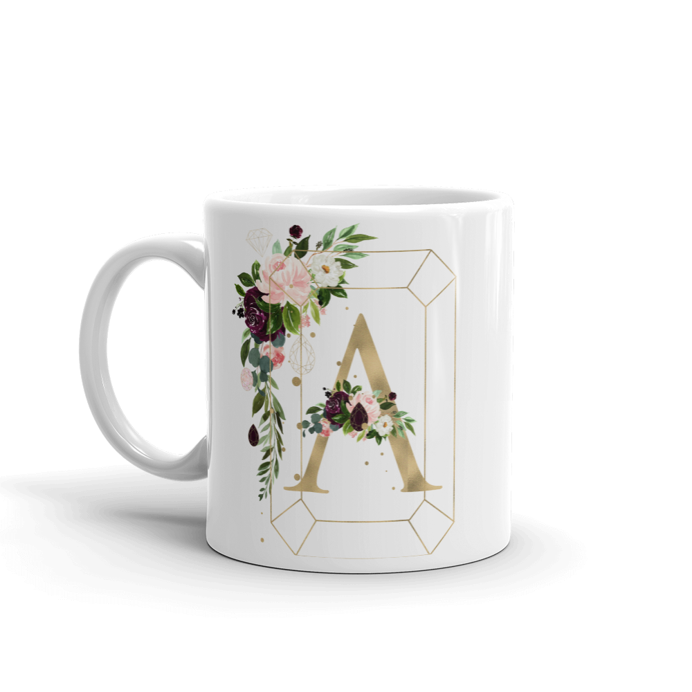 Floral Jewels Personalized Mug // New Release - That Moxie Chick Studio