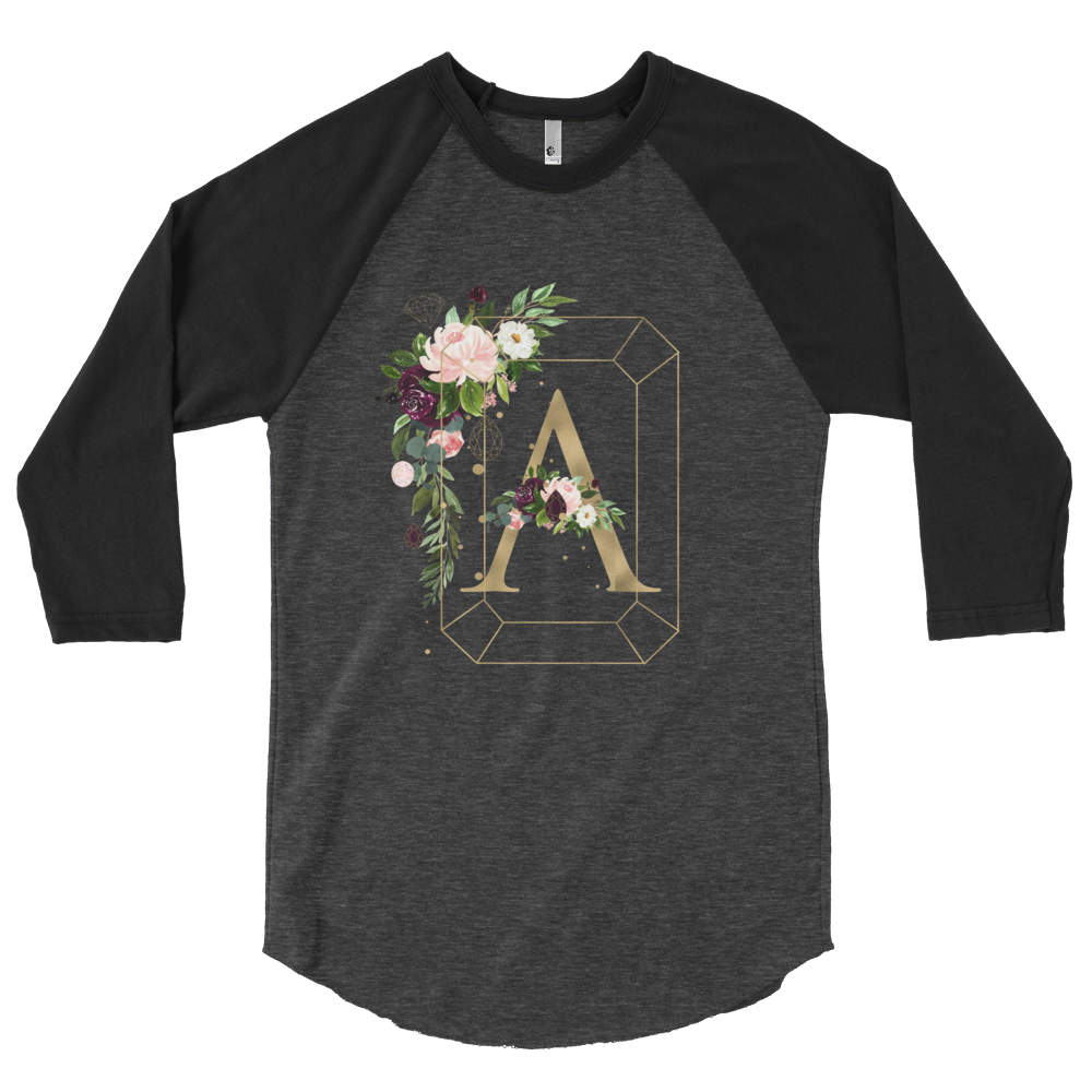Floral Jewels Personalized 3/4 sleeve raglan shirt // New Release - That Moxie Chick Studio