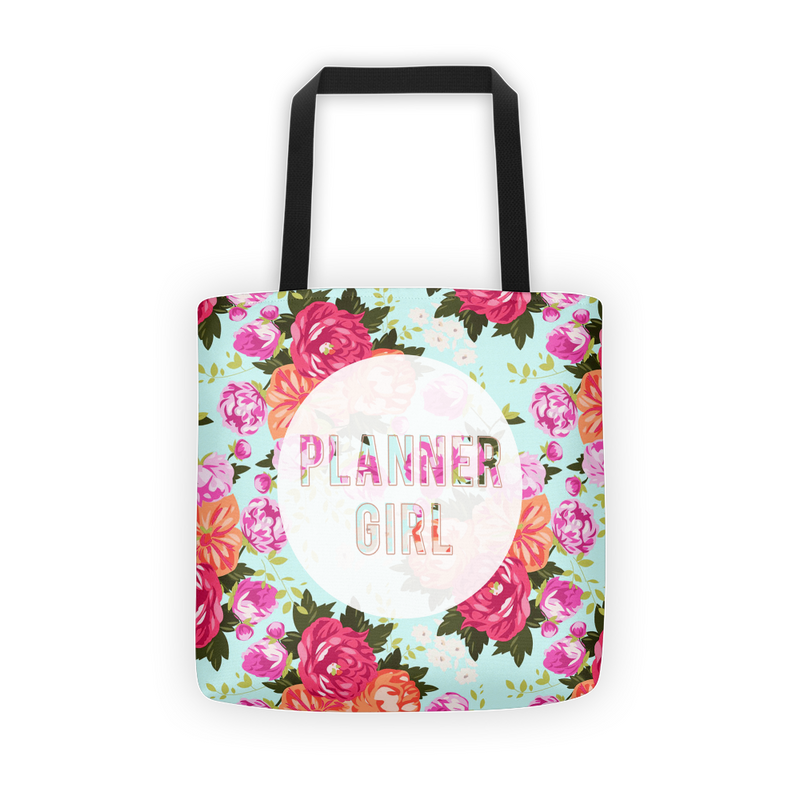 Floral 'Planner Girl' Tote Bag - That Moxie Chick Studio