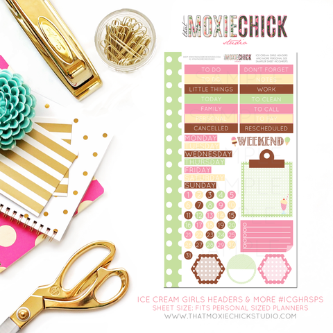 ICE CREAM GIRLS HEADERS AND MORE #ICGHRSPS - PERSONAL SIZE SHEET - That Moxie Chick Studio