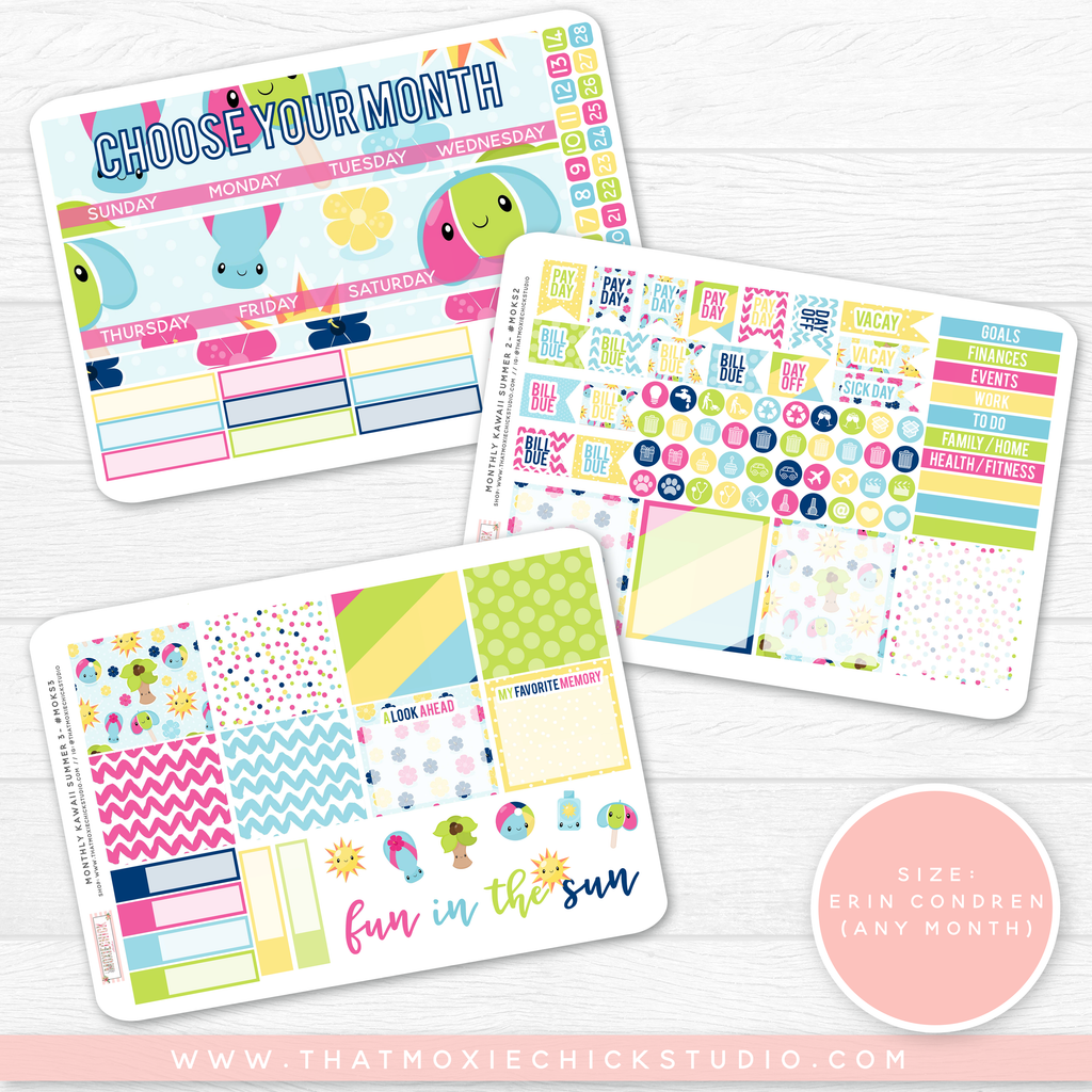 NEW RELEASE // KAWAII SUMMER 'CHOOSE YOUR OWN MONTH' // ERIN CONDREN MONTHLY - That Moxie Chick Studio