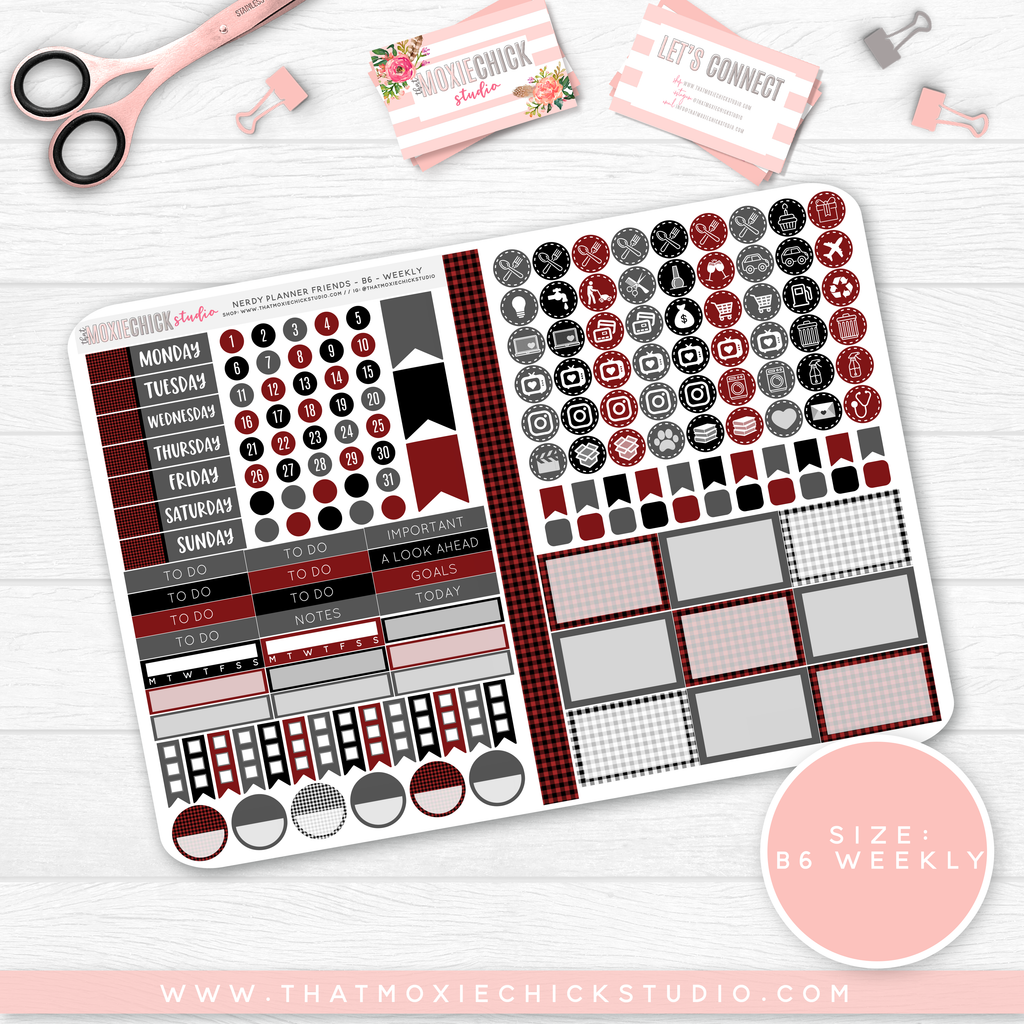 "NERDY PLANNER FRIENDS B6 'WEEKLY' FOLDABLE ""BUFFALO PLAID"" // HAND DRAWN - That Moxie Chick Studio"